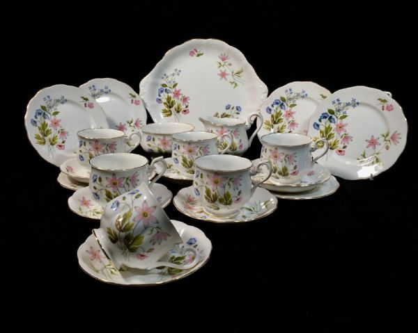 Vintage English Bone China Richmond Afternoon Tea Set For 6 People Wild Anemone